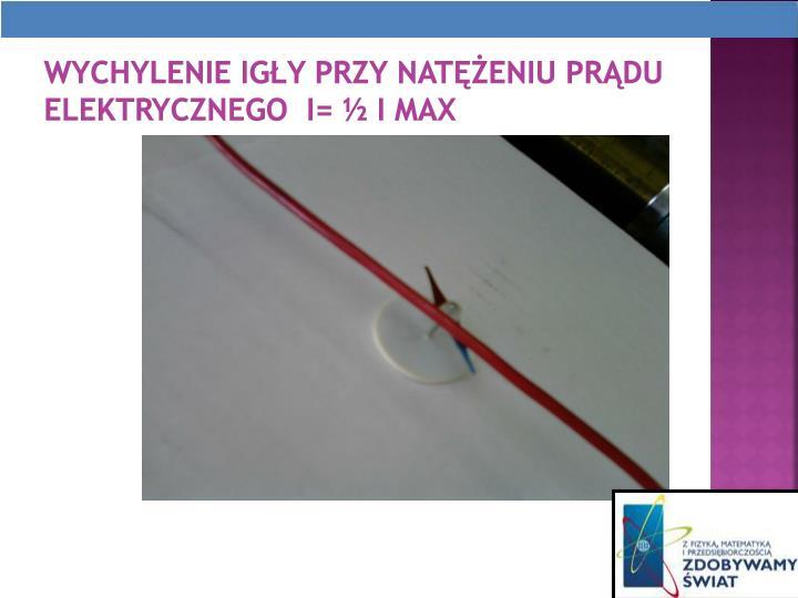 Wychylenie igy przy nateniu prdu elektrycznego  I=  I max