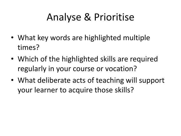 Analyse & Prioritise