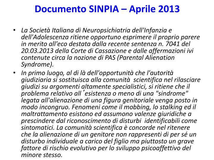 Documento SINPIA – Aprile 2013