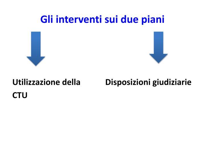 Gli interventi sui due piani