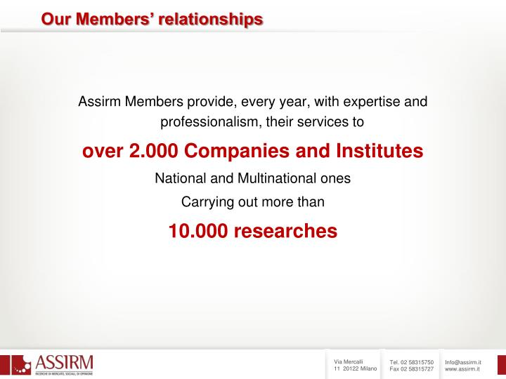 Assirm Members provide, every year, with expertise and professionalism, their services to