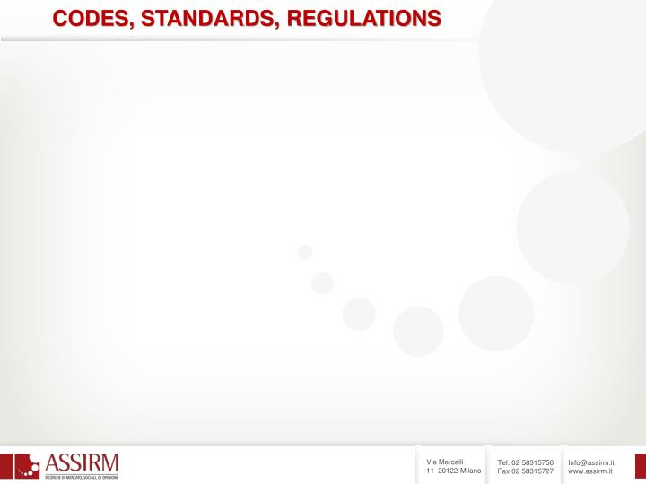 CODES, STANDARDS, REGULATIONS