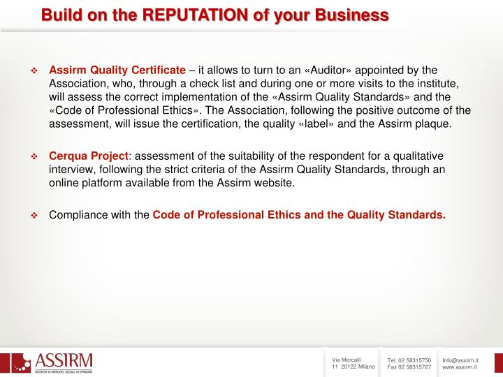 Assirm Quality Certificate