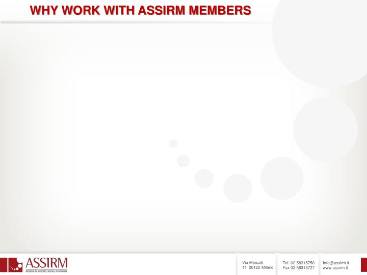 WHY WORK WITH ASSIRM MEMBERS