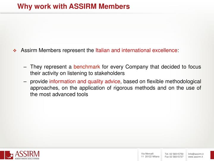 Assirm Members represent the