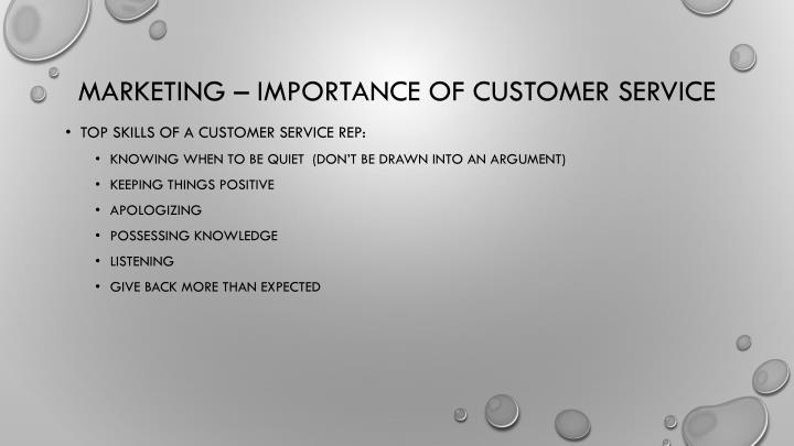 Marketing – importance of customer service