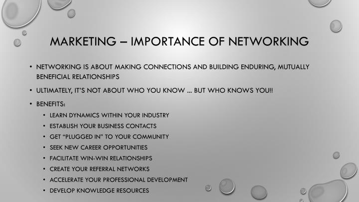 Marketing – importance of networking