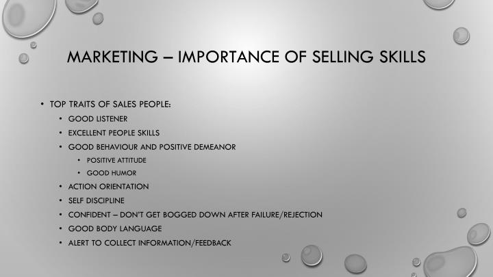 Marketing – importance of selling skills
