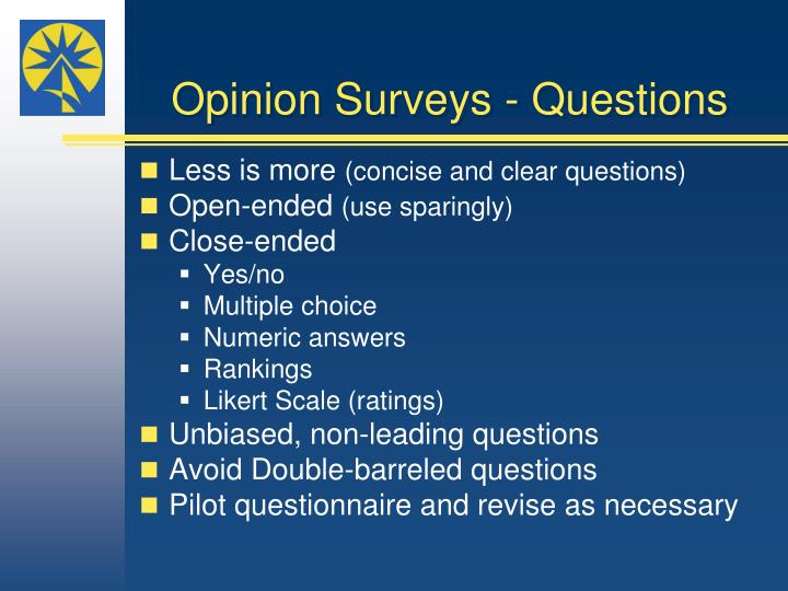 Opinion Surveys - Questions