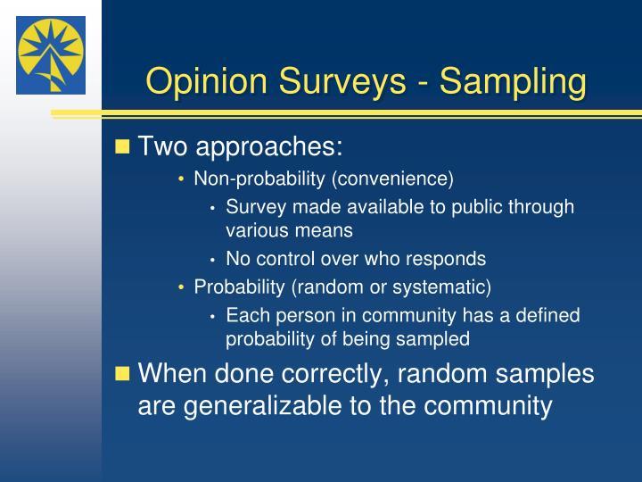 Opinion Surveys - Sampling