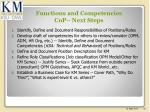 functions and competencies cop next steps