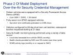 phase 2 of model deployment over the air security credential management