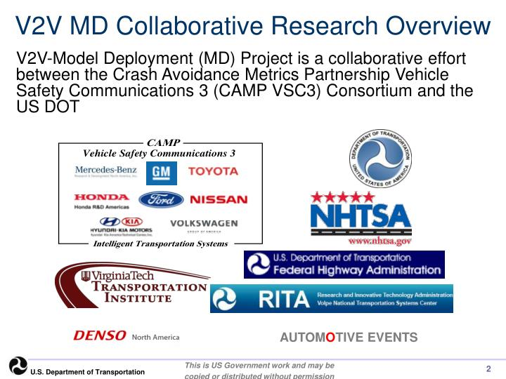V2V MD Collaborative Research Overview