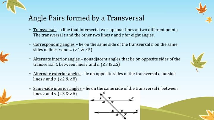 Angle Pairs formed by a Transversal