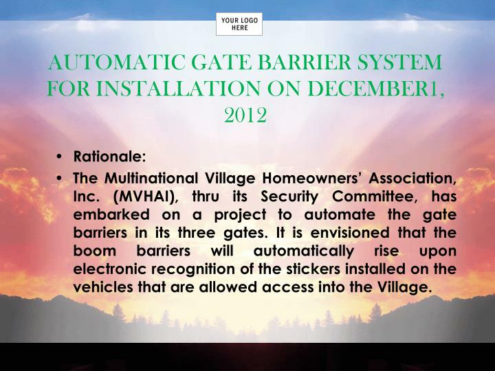 AUTOMATIC GATE BARRIER SYSTEM FOR INSTALLATION ON DECEMBER1, 2012