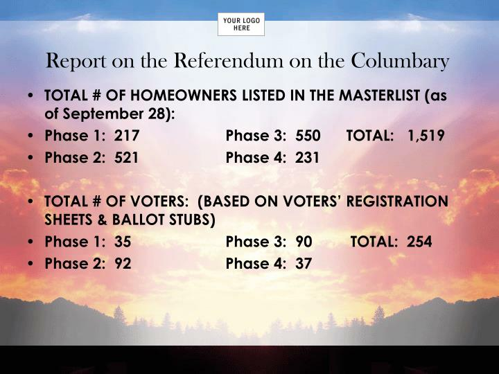 Report on the Referendum on the Columbary