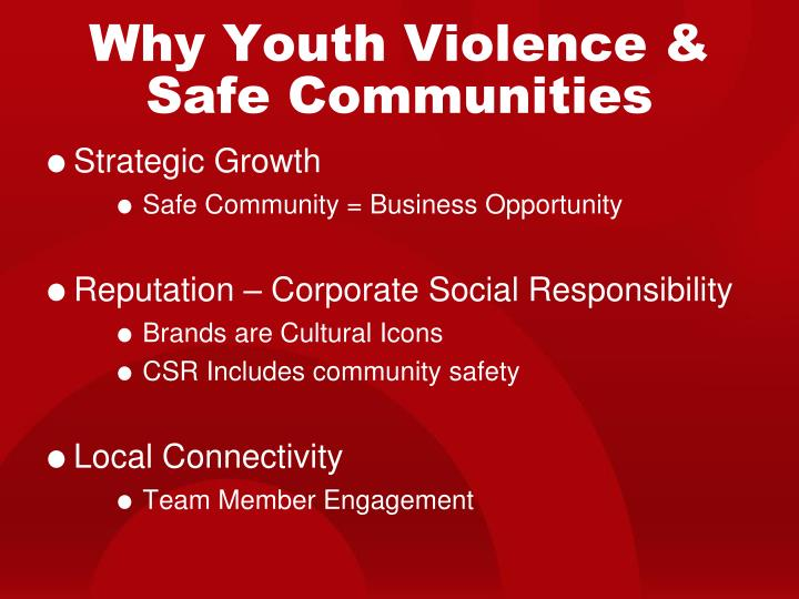 Why Youth Violence & Safe Communities