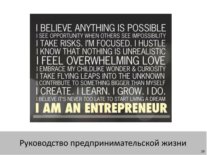 Руководство предпринимательской жизни