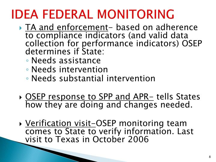 IDEA FEDERAL MONITORING