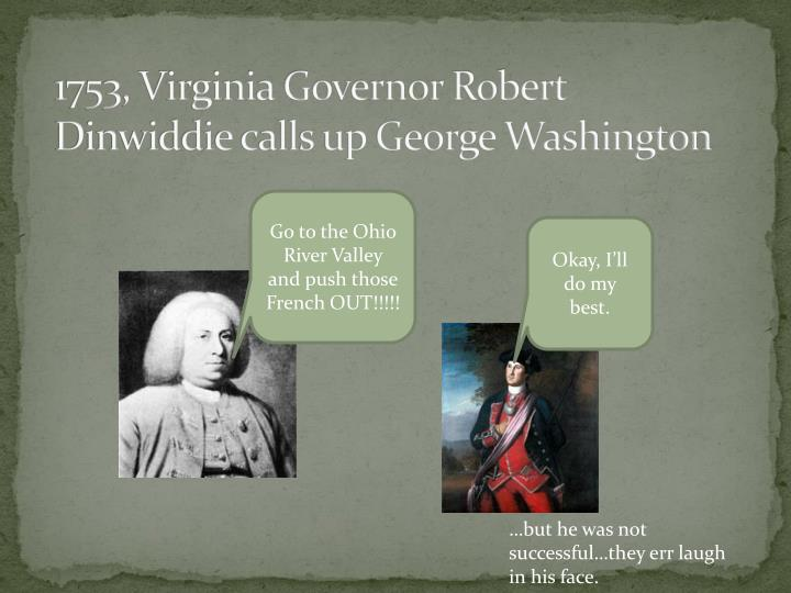1753, Virginia Governor Robert Dinwiddie calls up George Washington