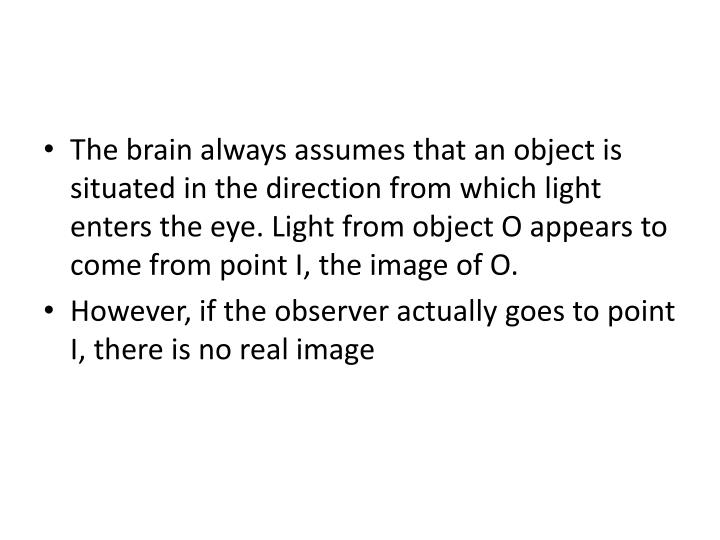 The brain always assumes that an object is situated in the direction from which light enters the eye. Light from object O appears to come from point I, the image of O.