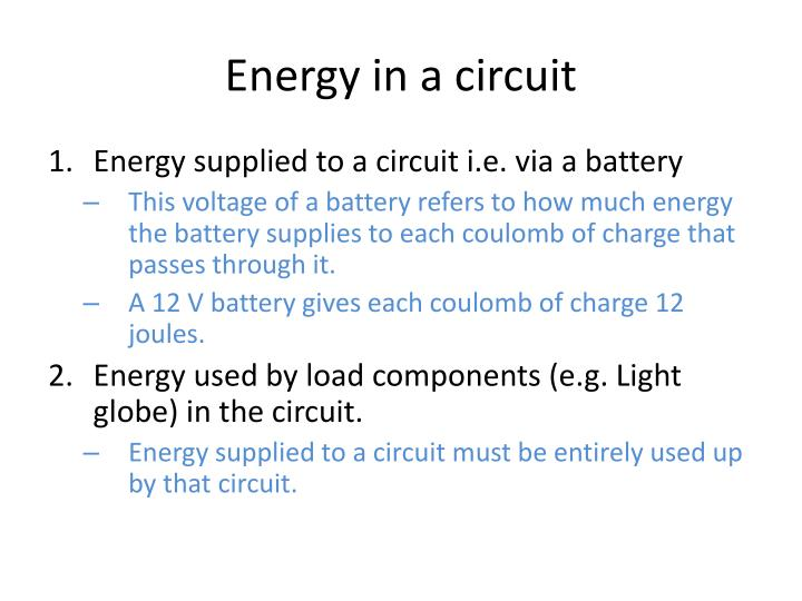 Energy in a circuit