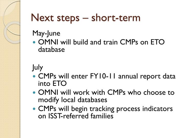 Next steps – short-term