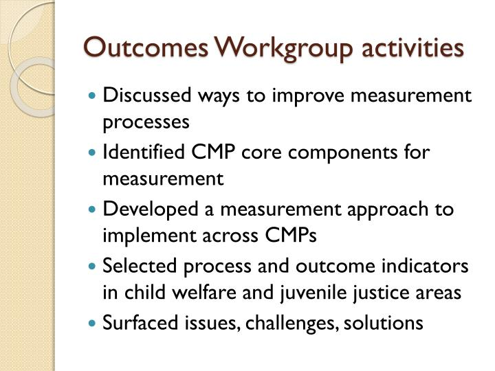 Outcomes Workgroup activities