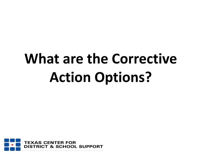 What are the Corrective Action Options?