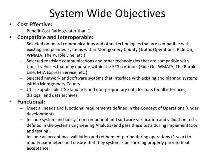System Wide Objectives