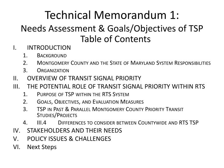 Technical memorandum 1 needs assessment goals objectives of tsp