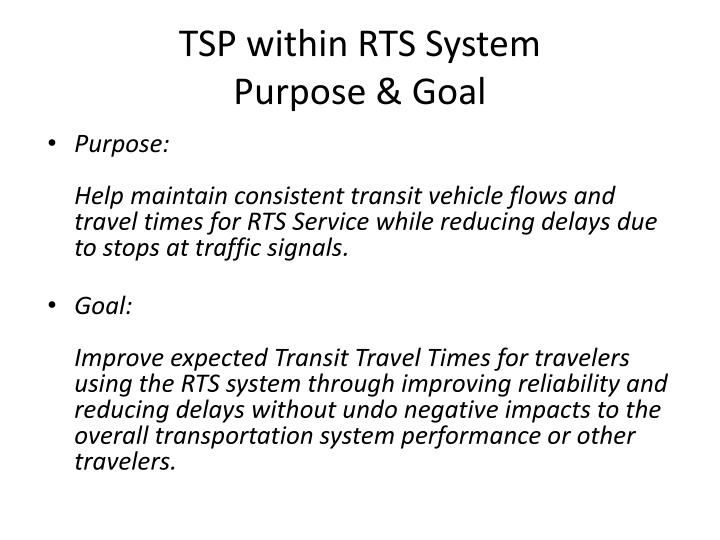 TSP within RTS System