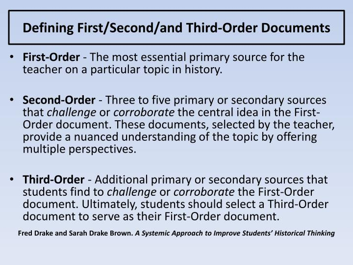Defining First/Second/and Third-Order Documents