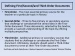 defining first second and third order documents
