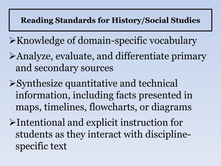 Reading Standards for History/Social Studies
