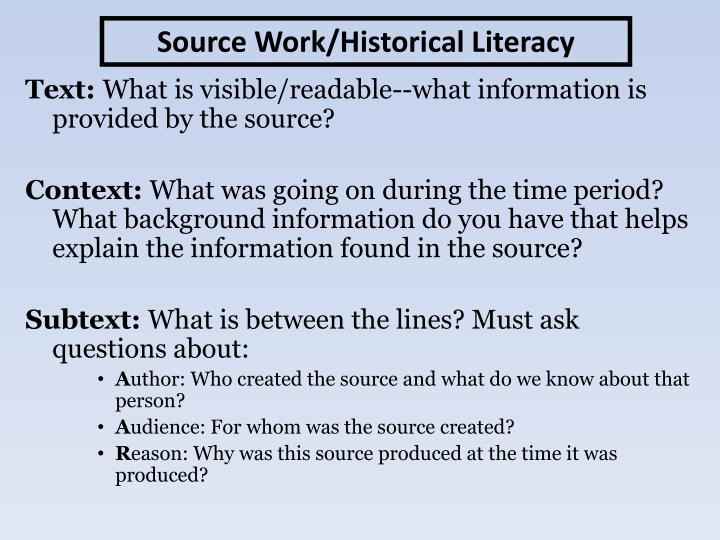 Source Work/Historical Literacy