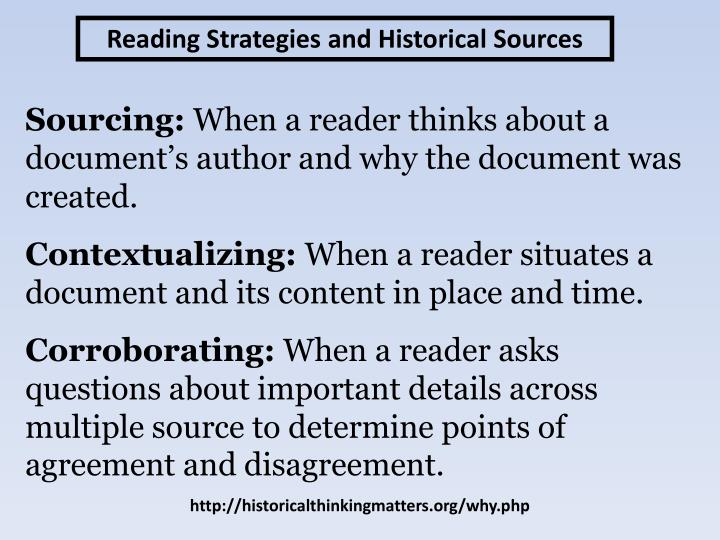 Reading Strategies and Historical Sources