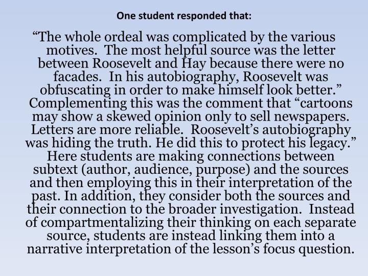 One student responded that: