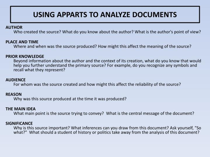 USING APPARTS TO ANALYZE DOCUMENTS