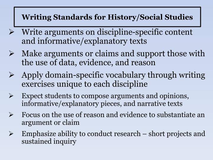 Writing Standards for History/Social Studies