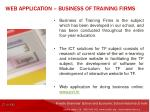 web application business of training firms