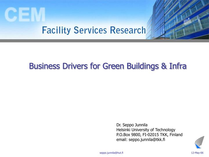 Business drivers for green buildings infra