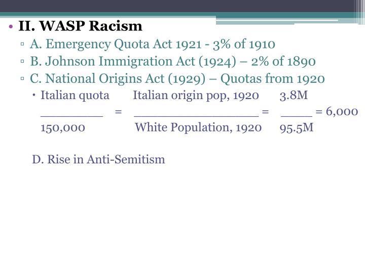 II. WASP Racism
