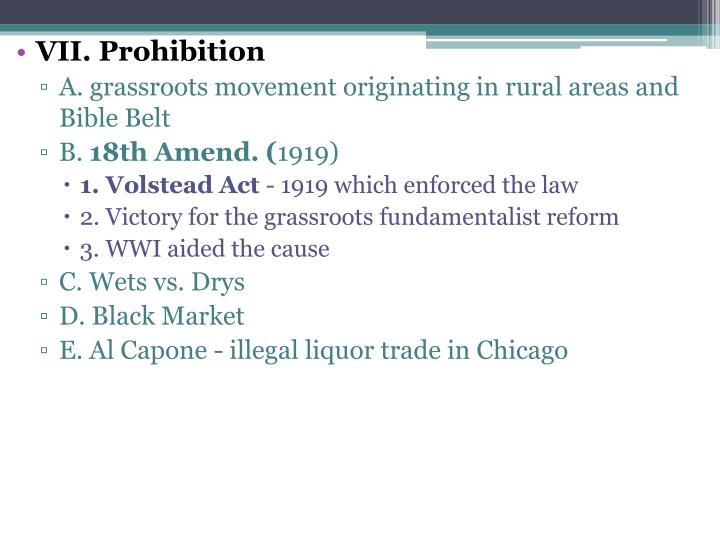 VII. Prohibition