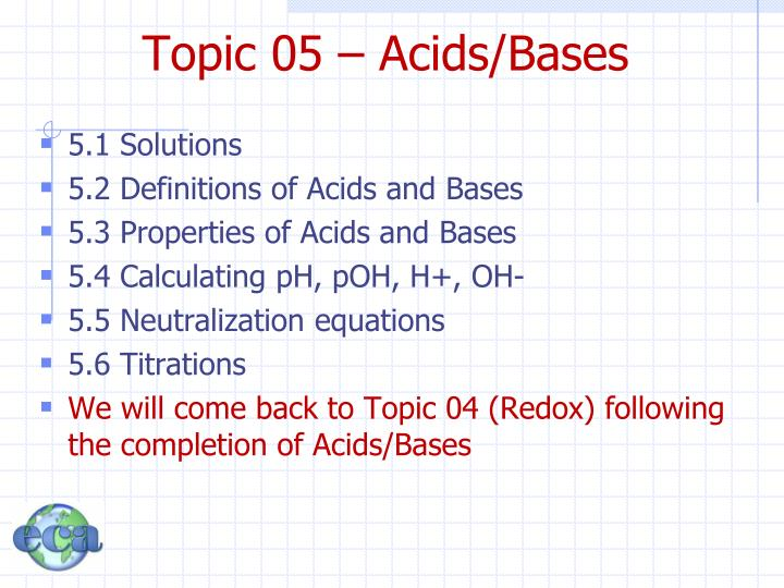 Topic 05 acids bases