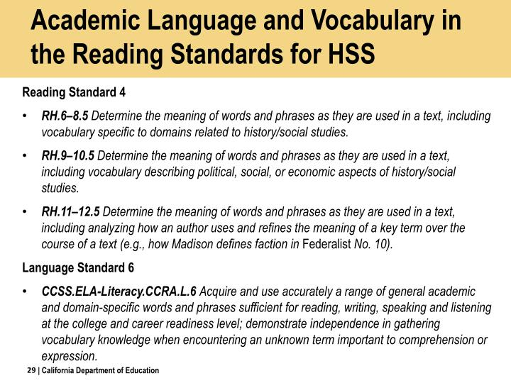 Academic Language and Vocabulary in the Reading Standards for HSS