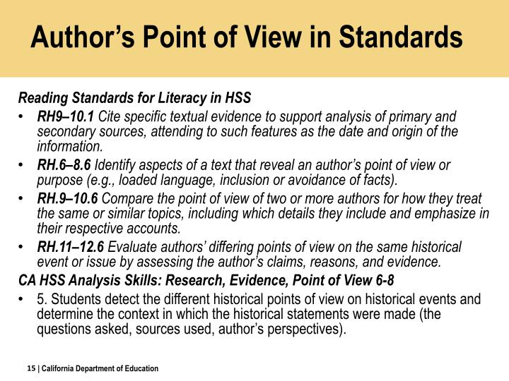 Author's Point of View in Standards