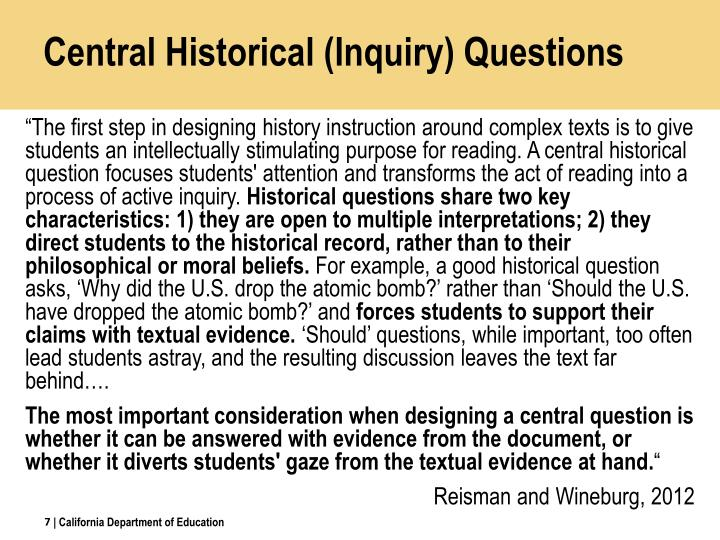 Central Historical (Inquiry) Questions