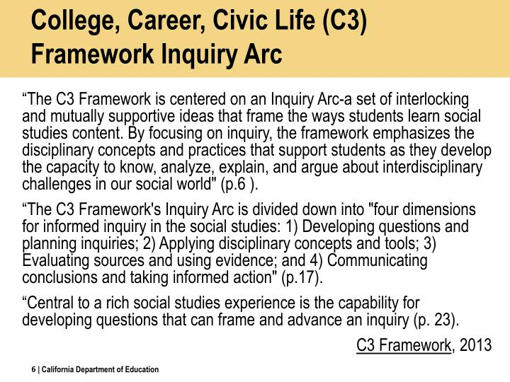 College, Career, Civic Life (C3) Framework Inquiry Arc