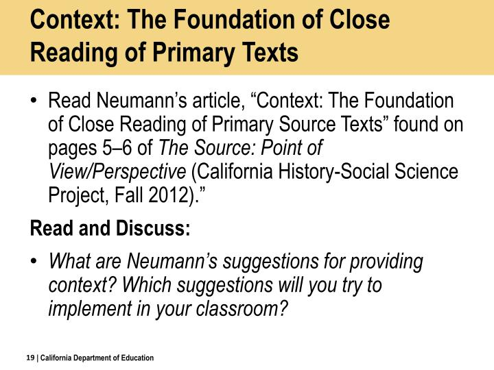 Context: The Foundation of Close Reading of Primary Texts